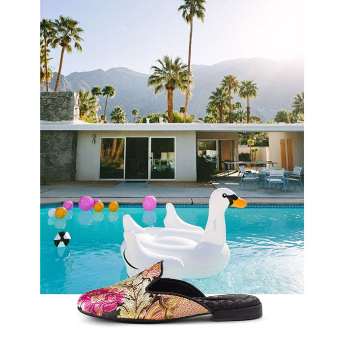 photo of Palm Springs pool and floral jacquard slides