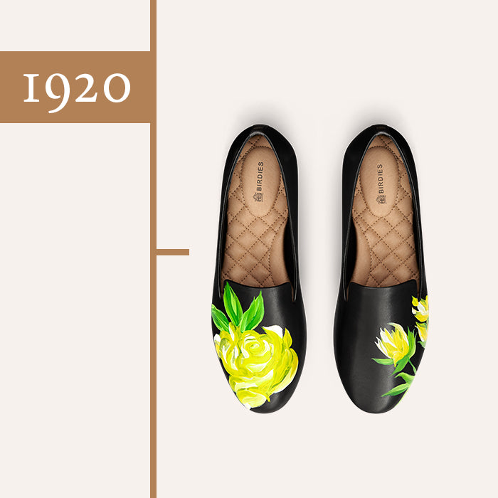 black leather yellow rose shoe