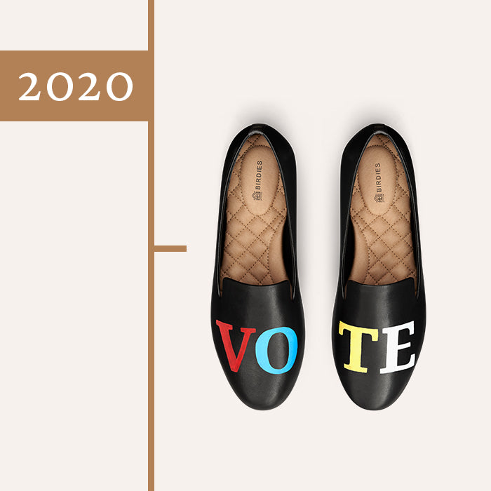 black leather vote shoe
