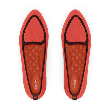 coral washable engineered knit women's flats