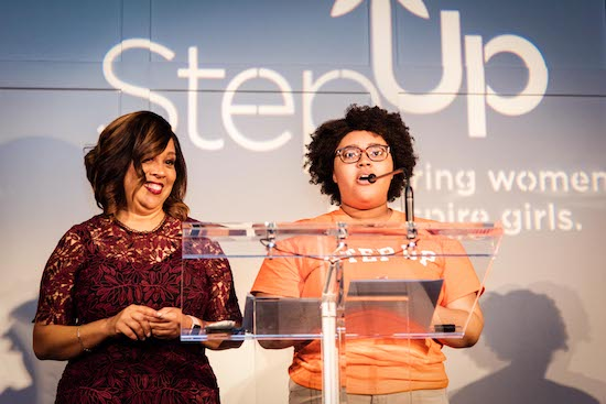 Delores Morton on stage at a Step Up event
