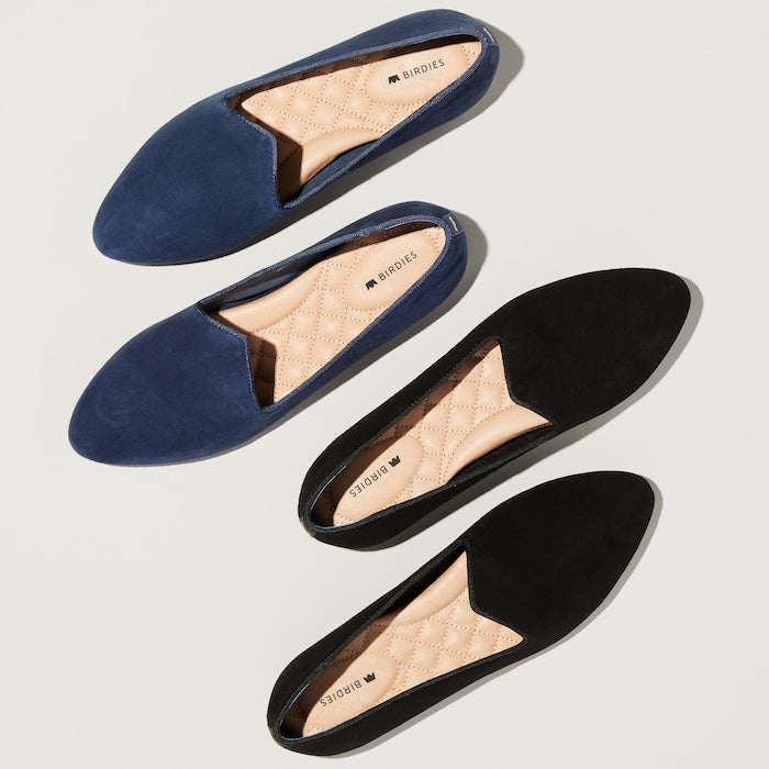 navy and black flats