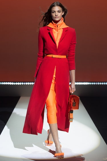 Brandon Maxwell runway image of color-block outfit
