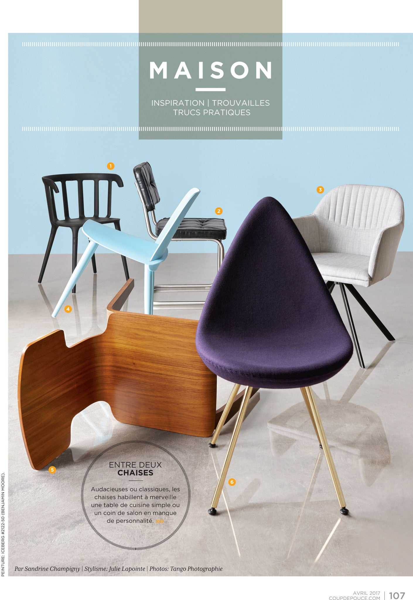 Kanvass Drop chair replica featured in Coup De Pouce April 2017