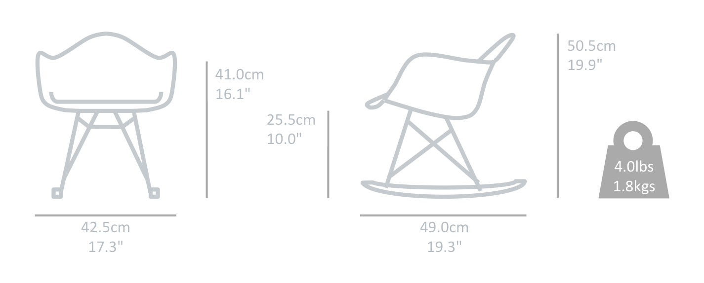 Eames rar rocking kids chair replica pp plastic seat for Chaise a bascule rar blanche eames