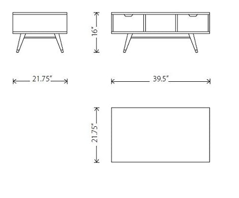 Jake coffee table dimensions