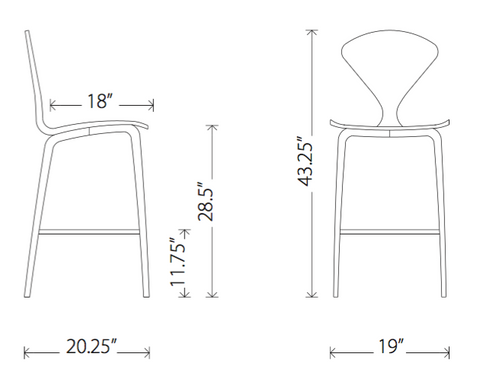 Norman Cherner Bar Stool Dimensions