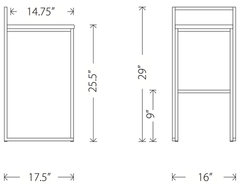 Dimensions of the Genoa counter stool