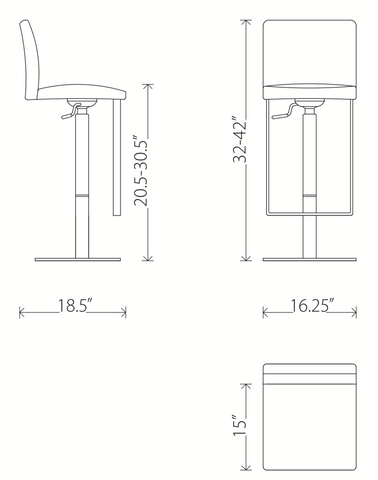 Dimensions of the Matteo adjustable heigh swivel bar stool