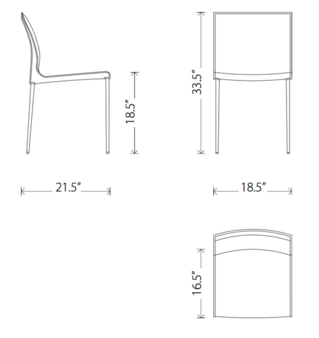 Dimensions of Colter dining chair