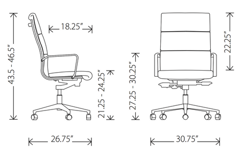 Dimensions of Lucia high back office chair