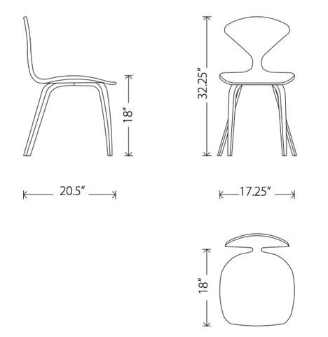 Dimensions of Satine dining chair