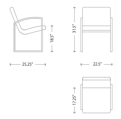 Dimensions of Clara dining armchair