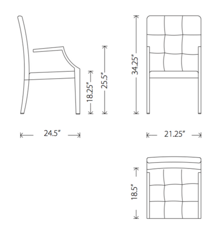Dimensions of Paris dining armchair