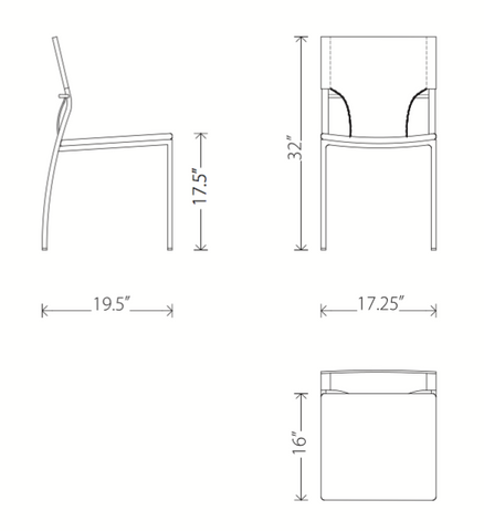 Dimensions of Lisbon dining chair