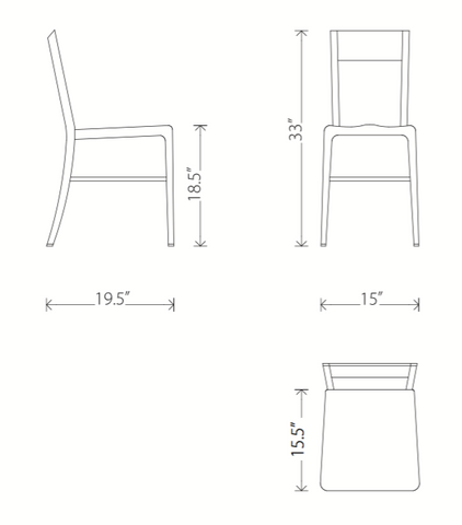 Dimensions of Tribecca dining chair
