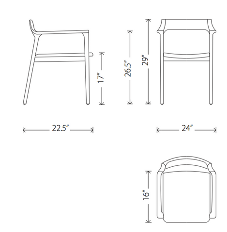 Dimensions of Caitlan dining armchair