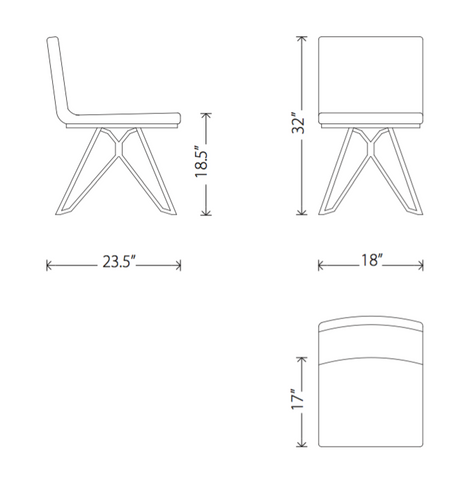 Dimensions of Tanya dining chair