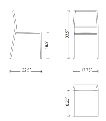 Dimensions of Aaron stackable dining chairs