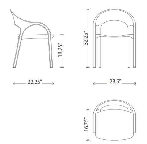 Dimensions of Vapour dining armchair