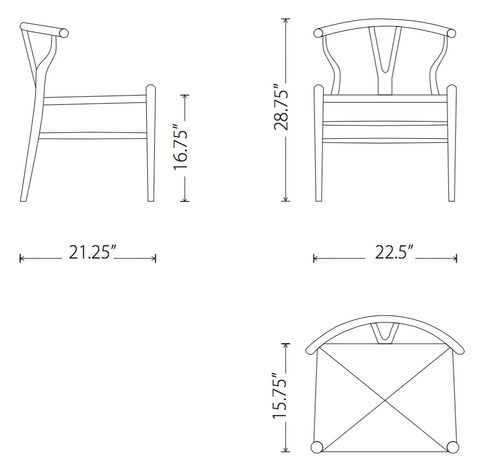 Wishbone chair deluxe dimensions