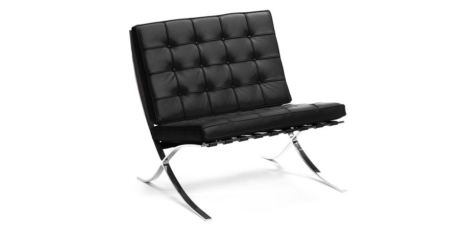 Barcelona Lounge Chair Style Full Italian Leather Kanvass