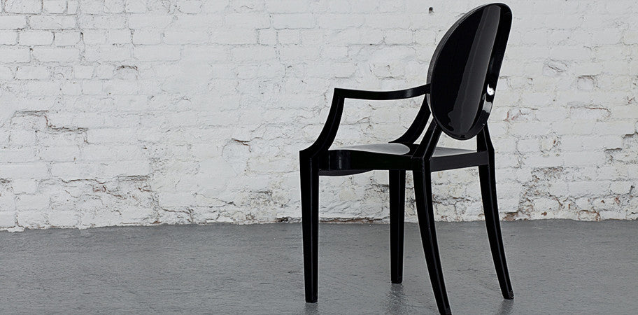 ... Louis Ghost Armchair Opaque Black Back ...