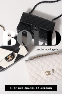 Flat lay of Chanel bags featuring Chanel White & Black Geometric Lambskin Rectangular Mini Classic Flap Bag Antique Gold Hardware — Shop our Chanel Collection