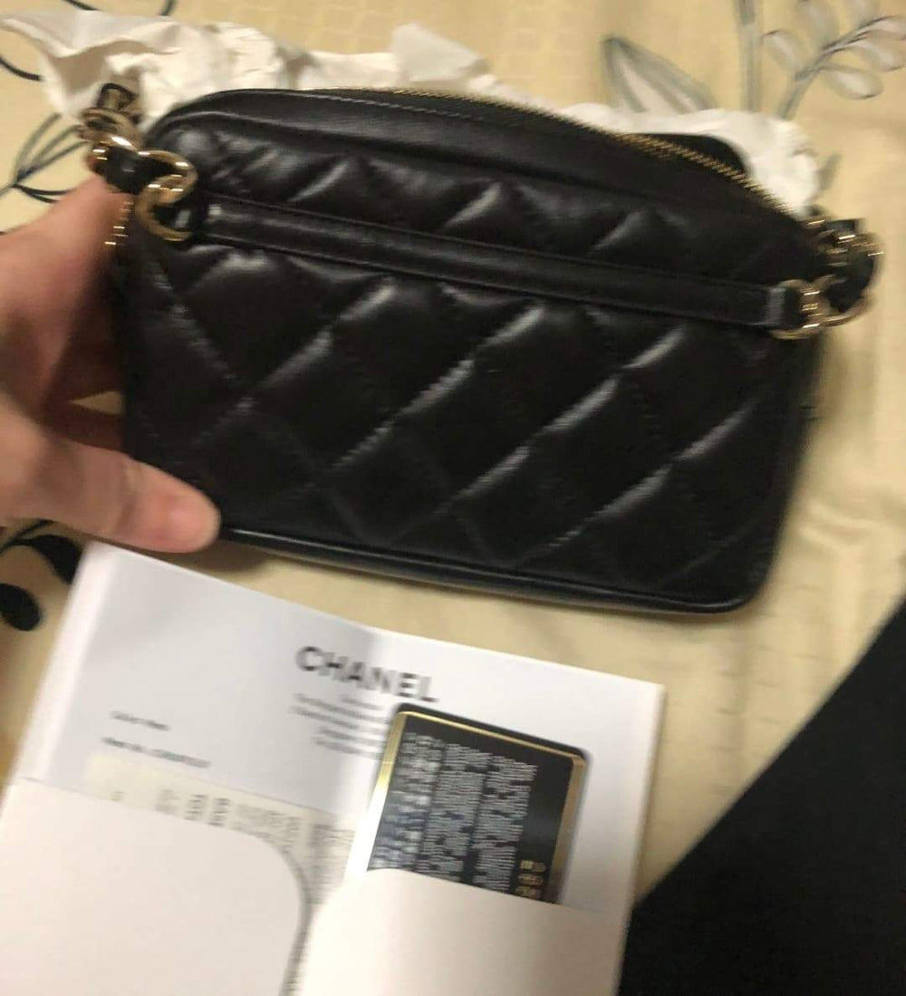 Chanel Black Lambskin Waist Bag (Fanny Pack) Gold Hardware - Cassandra - Express Shipping