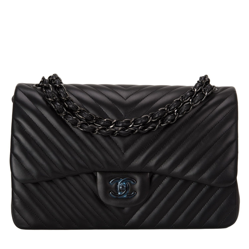 Chanel So Black Chevron Jumbo Double Flap Bag Handbags