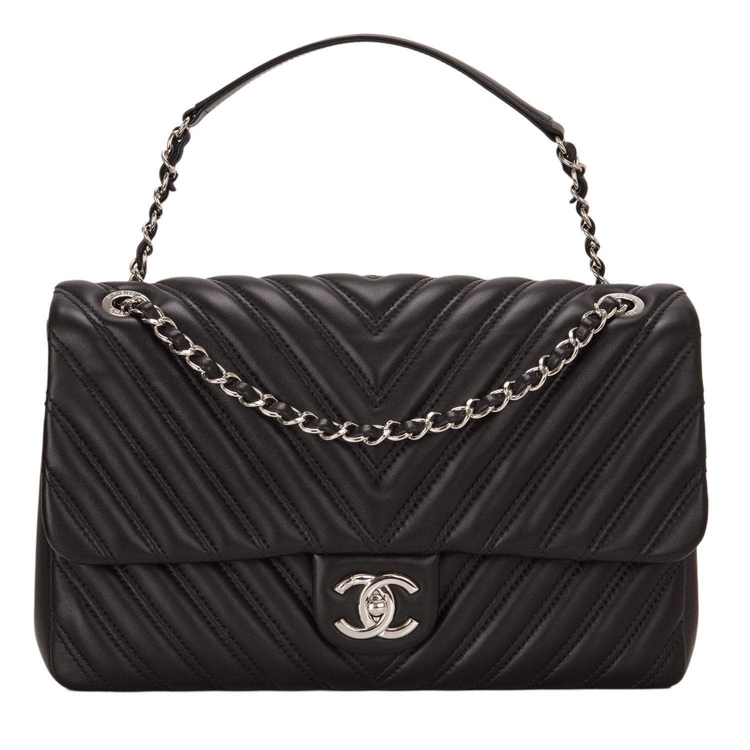 Chanel Black Chevron Lambskin Jumbo Flap Bag Handbags