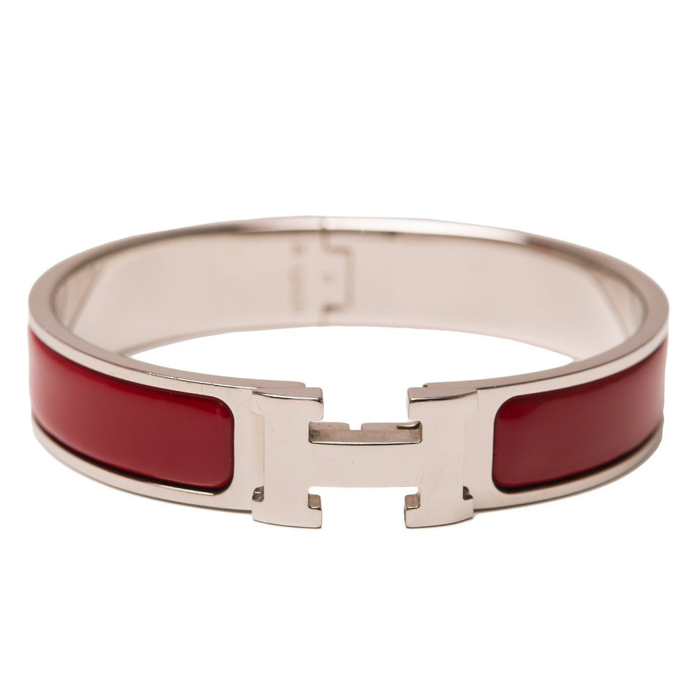 Hermes Clic Clac H Burgundy Narrow Enamel Bracelet Pm Accessories