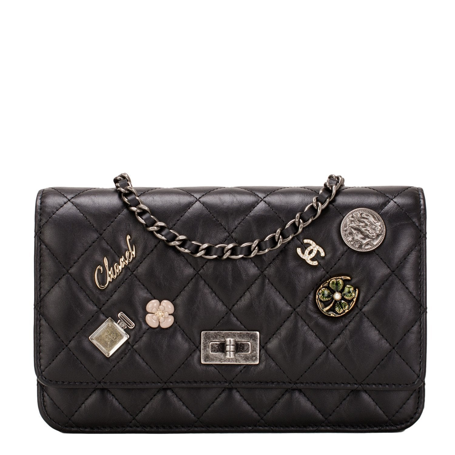 Chanel Black Lucky Charms Symbols Wallet On Chain Handbags
