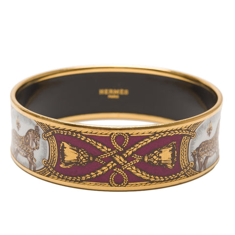 Hermes Grand Apparat Printed Enamel Wide Bracelet Gm 70 Preloved Excellent Accessories