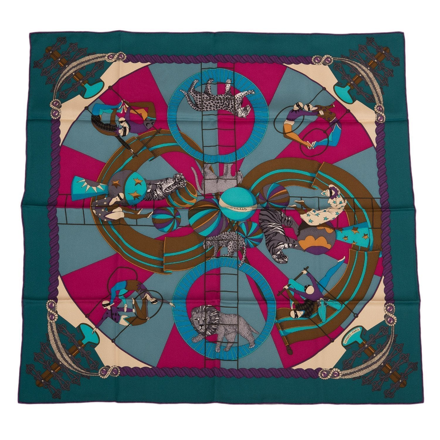 Hermes Circus Silk Twill Scarf 70Cm Scarves