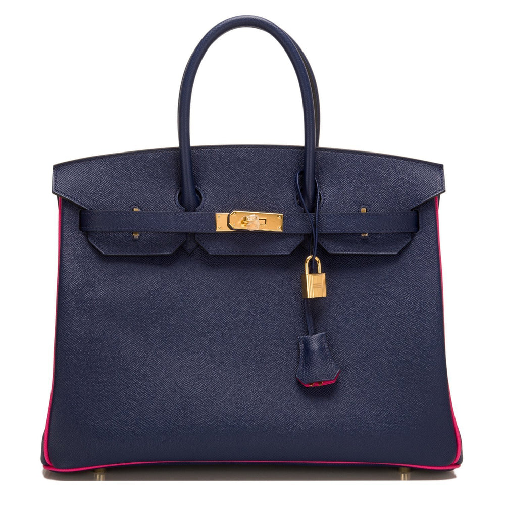 Hermes So Horseshoe Stamped Blue Sapphirerose Tyrien Epsom Birkin 35Cm Gold Hardware Handbags