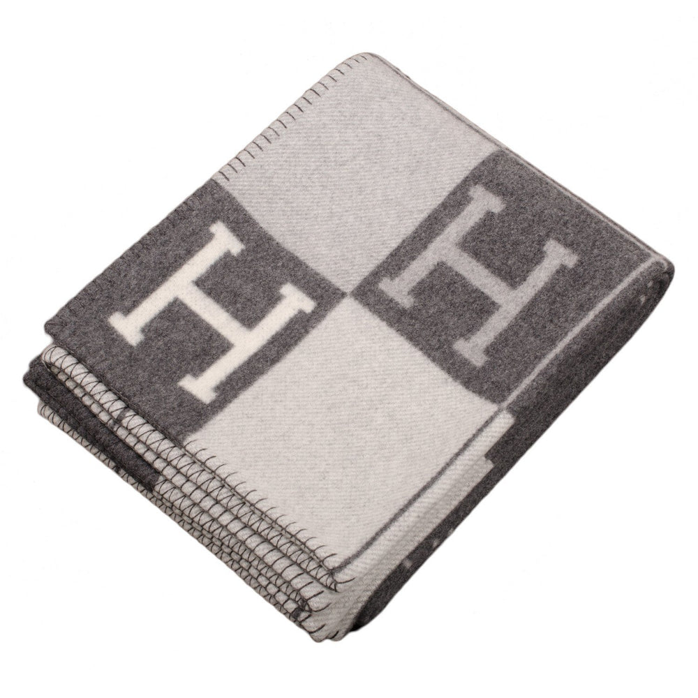 Hermes Avalon Ecru And Dark Grey Signature H Blanket