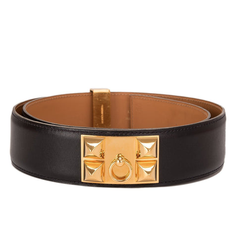 Hermes Black Calfskin Leather Collier De Chien Medor Belt 80Cm Preloved Excellent Accessories