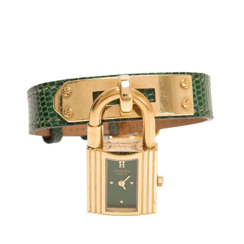 Hermes Kelly Watch Green Lizard Band Preloved Excellent Accessories