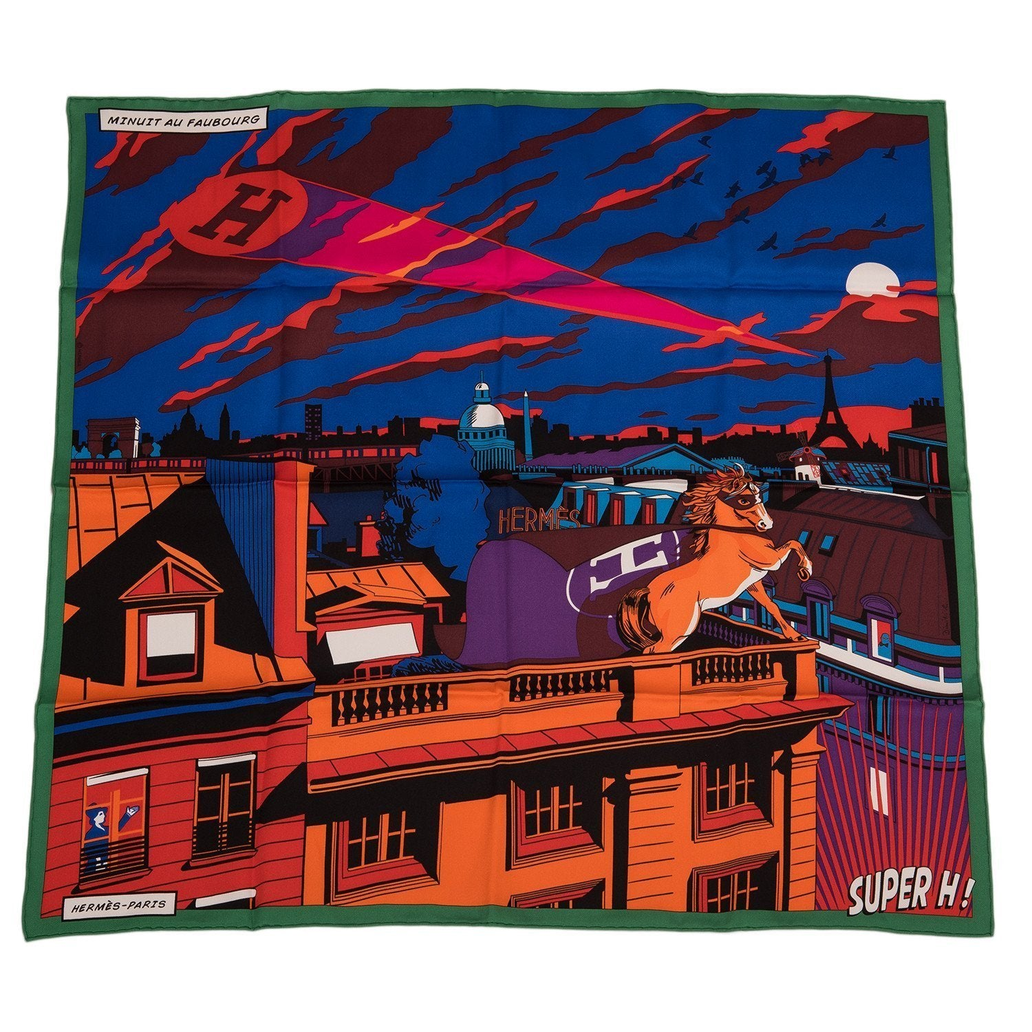 Hermes Minuit Au Faubourg Silk Twill Scarf 70Cm Scarves