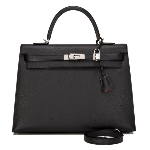 Hermes Hss Bi Color Black And Rouge Casaque Epsom Sellier Kelly 35Cm Palladium Hardware Handbags