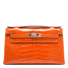 Hermes Orange H Shiny Alligator Mini Kelly Pochette Handbags