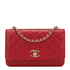 Chanel Red Quilted Lambskin Trendy Cc Wallet On Chain Woc Handbags