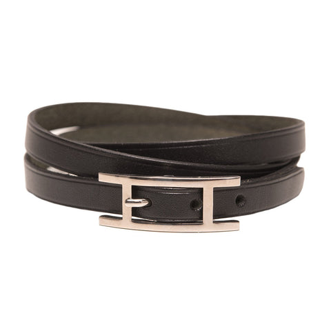 Hermes Black Leather Hapi 3 Gm Bracelet Preloved Mint Accessories
