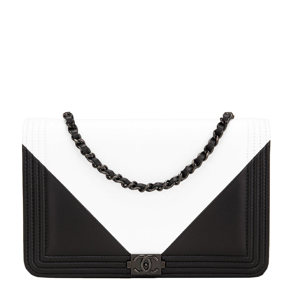 Chanel Black And White Geometric Lambskin Boy Wallet On Chain Woc Handbags