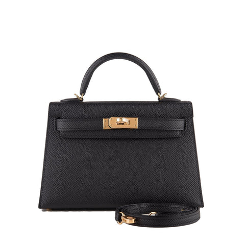 Hermes Black Epsom Sellier Kelly 20Cm Gold Hardware Handbags