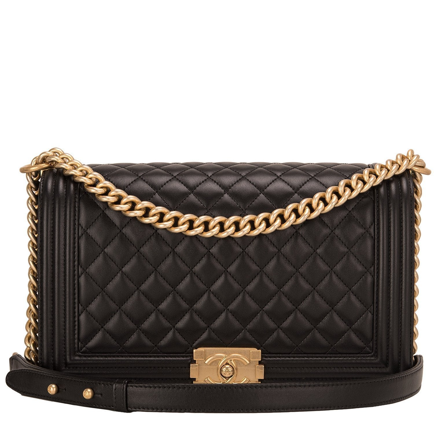 Chanel Black Quilted Lambskin New Medium Boy Bag Handbags