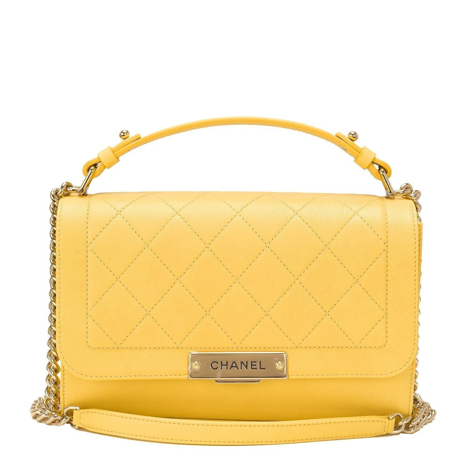 3185ae8101d8 Chanel Yellow Natural Matte Grained Calfskin Medium Label Click Flap B –  Madison Avenue Couture