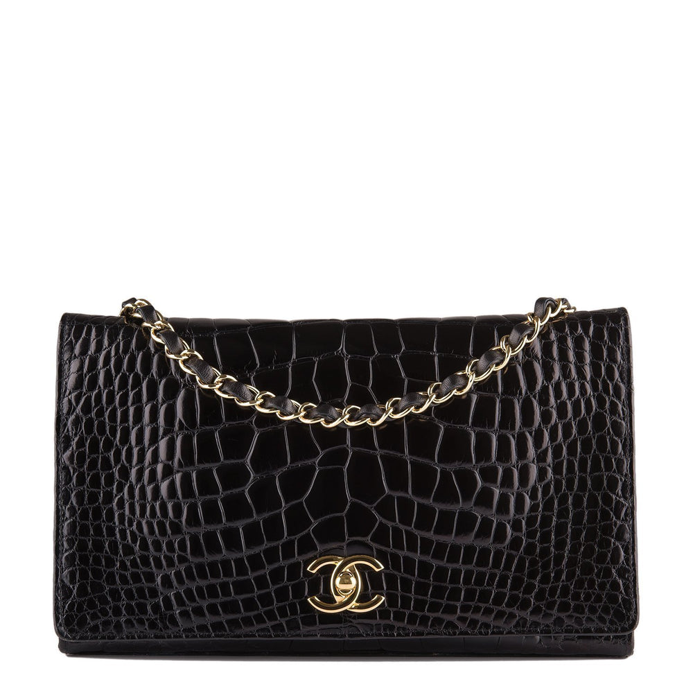 Chanel Vintage Black Crocodile Full Flap Bag Preloved Mint Handbags
