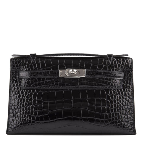Hermes Black Shiny Alligator Mini Kelly Pochette Handbags